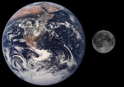 Größenvergleich Erde-Mond | Quelle: Nasa