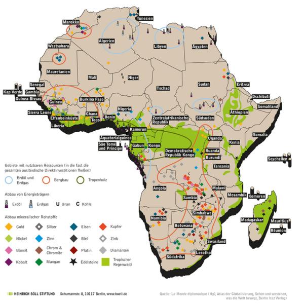 Rohstoffe in Afrika 2009 Quelle: Heinrich Böll Stiftung
