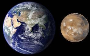 Größenvergleich Erde-Mars | Quelle: NASA/JPL/MSSS