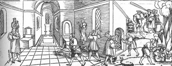 Flugblatt Klagrede der armen verfolgten Götzen und Tempelbilder (Erhard Schön, um 1530)