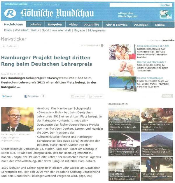 Kölnische Rundschau 26.11.2012