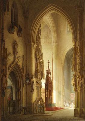 Edmund Herger: Inneres des Ulmer Münsters, 19. Jahrhundert