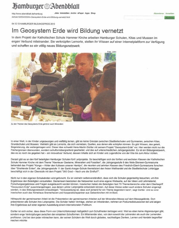 Hamburger Abendblatt 4.12.2013