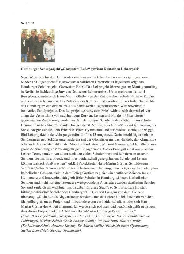 Katholischer Schulverband Hamburg 26.11.2012