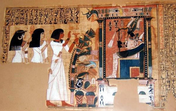 In Hieroglyphen geschriebene Passage aus dem Totenbuch des Hunefers (1275 v. Chr.)