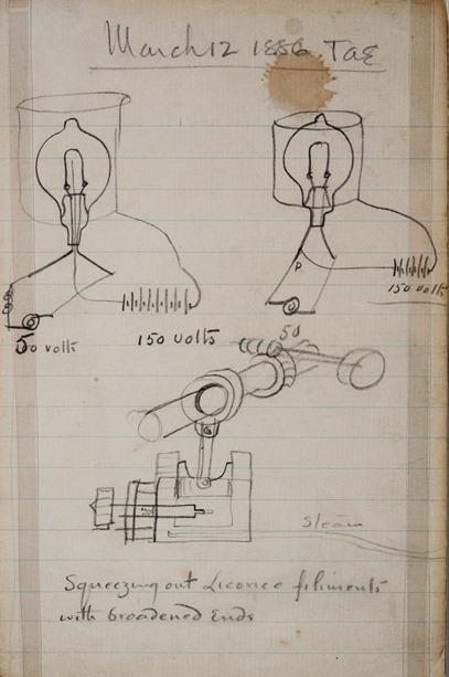 Skizze von Thomas Edison aus dem Jahr 1886: Glühlampen und eine Vakuumpumpe. Die Fähigkeit, sich zeichnerisch auszudrücken, gilt als eine der Quellen für Erfindungserfolge von Edison