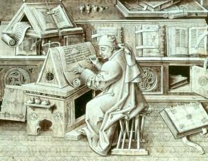 Kopist beim Abschreiben