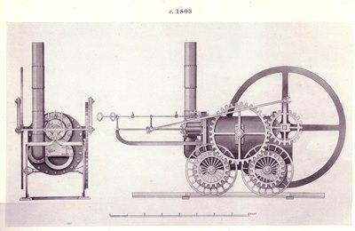 Zeichnung Trevithicks Lokomotive von 1802