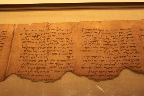 Antike Schriftrolle (um 100 v.Chr.) mit einem hebräischen Kommentar zu Habakuk
