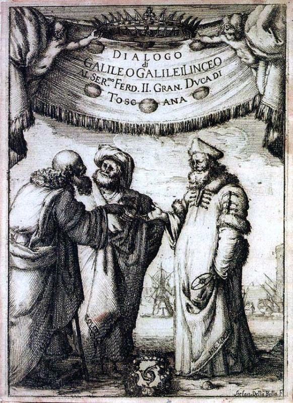 Titelblatt von Galileis Dialog: Aristoteles, Ptolemäus und Copernicus diskutieren
