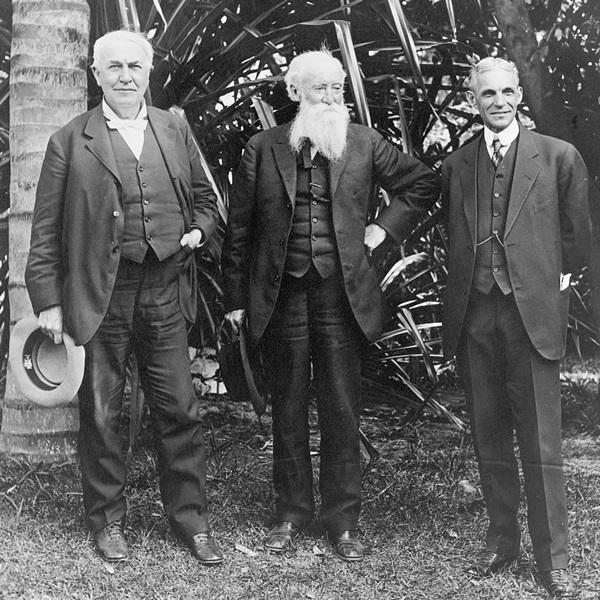 Treffen von John Burroughs mit Thomas Edison und Henry Ford, 1914