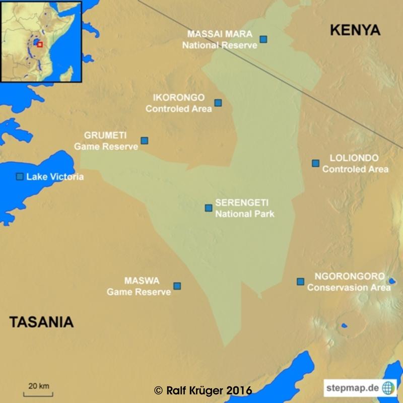 Die Schutzgebiete der Serengeti (Quelle:Ralf Krüger)