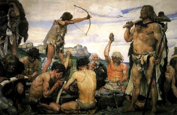 Phantasievolle Darstellung der Steinzeit (von Viktor Vasnetsov, 1868)