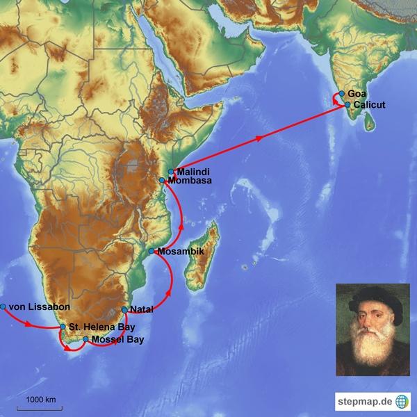 Route der ersten Reise von Vasco da Gama; Quelle: Ralf Krüger
