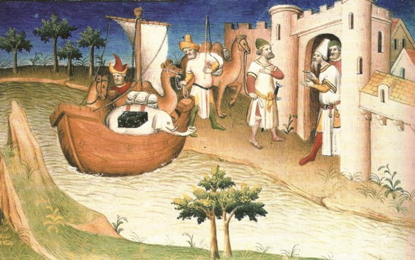 """Marco Polo in China (Abbildung in seinem Buch """"Il milione"""", 1298–1299)"""