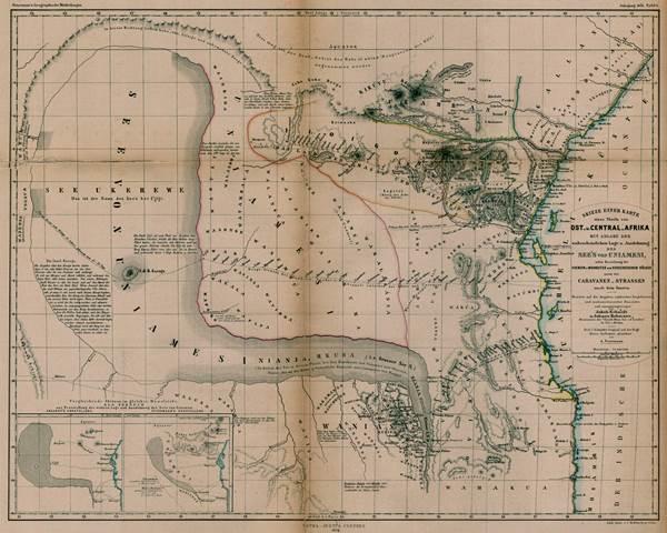 Skizze einer Karte Ostafrikas von Jakob Erhardt u. Johann Rebmann