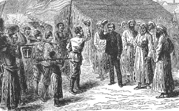 Zeitgenössische Illustration des Treffens von Stanley und Livingstone