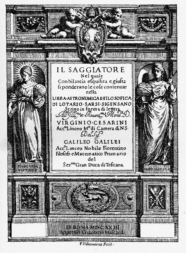 Titelseite von Il Saggiatore, Kupferstich von Francesco Villamena, 1623
