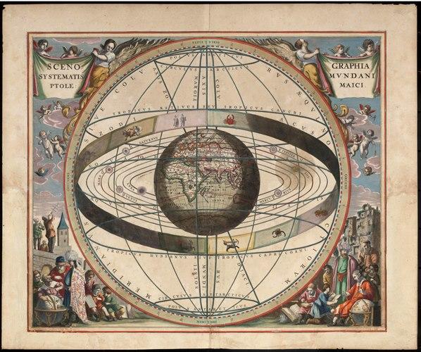 Künstlerische Darstellung des geozentrischen Weltbilds nach Ptolemäus von Johannes von Loon (1611 - 1685)