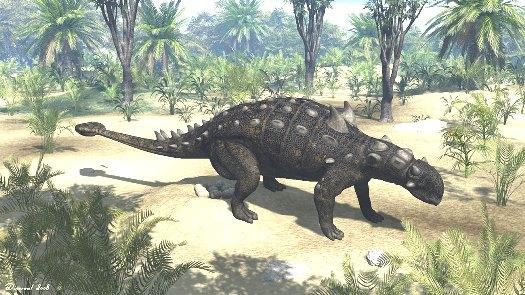 Rekonstruktionsbild der Familie Ankylosauridae Quelle: R. Lunia (CC BY-SA 4.0)