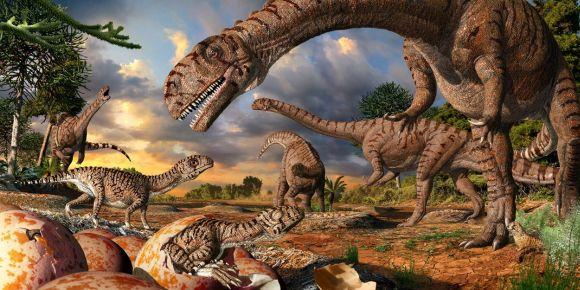 Rekonstruktionsbild der 190 Millionen Jahre alten Prosauropoden Massospondylus und seiner Jungtiere Quelle: Julius Csotonyi (CC-BY-SA-4.0)