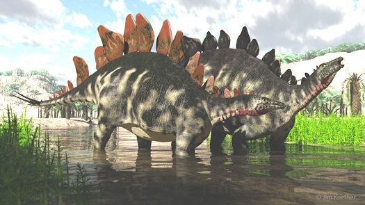 Rekonstruktionsbild der Familie Stegosauria Quelle: J.Kuether (CC BY-SA 4.0)